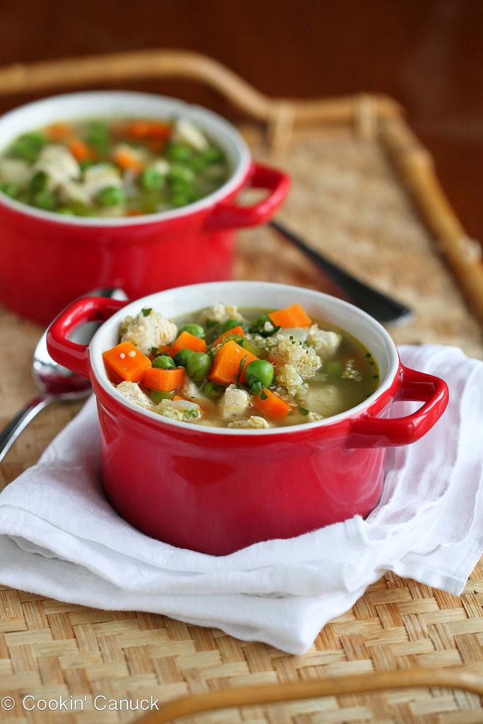 Easy Healthy Soups  Light Chicken Quinoa & Ve able Soup Recipe