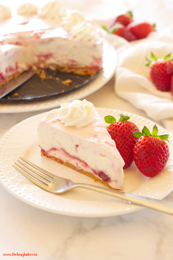 Easy No Bake Summer Desserts  Easy No Bake Strawberry Swirl Cheesecake The Busy Baker