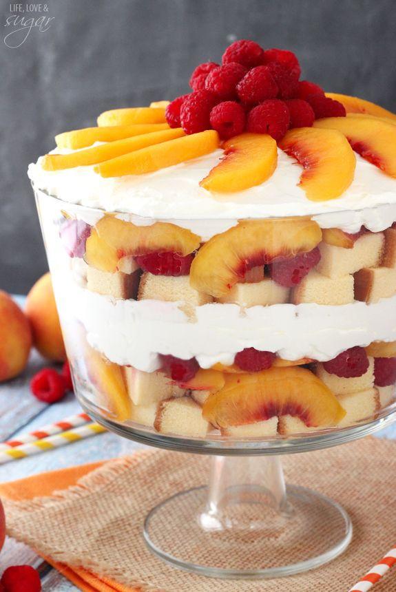 Easy Summer Dessert  Peach Raspberry Sangria Trifle Recipe