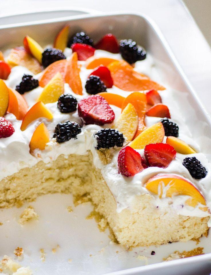 Easy Summer Dessert  Easy Summer Cake with Fruit & Cream Recipe