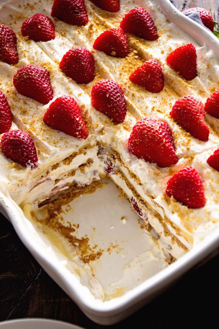 Easy Summer Desserts  No Bake Strawberry Cheesecake Icebox Cake Recipe This