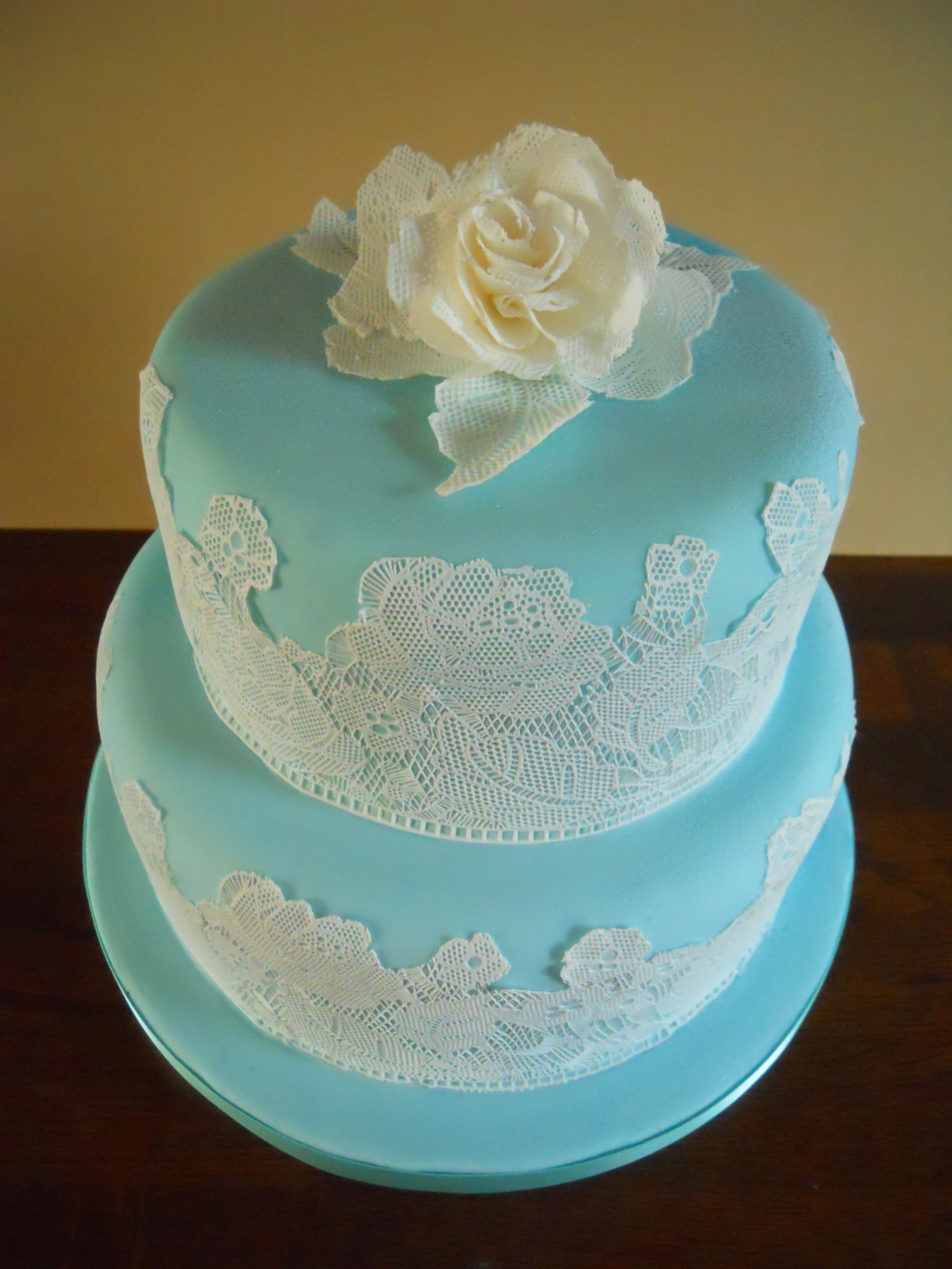 Edible Lace For Wedding Cakes  Edible Lace Rose Cake
