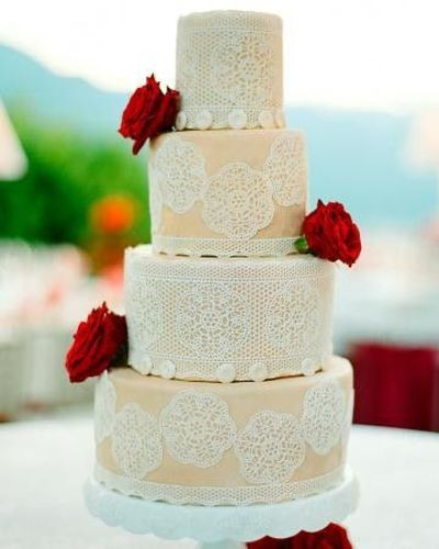 Edible Lace For Wedding Cakes  A showstopping wedding cake decked out edible lace