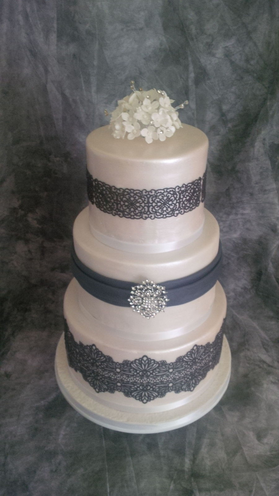 Edible Lace For Wedding Cakes  Three Tier Wedding Cake With Edible Lace CakeCentral