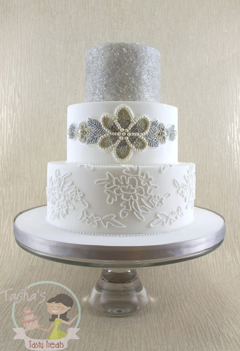 Edible Lace For Wedding Cakes  Edible Beaded Sash and Piped Corded Lace Wedding Cake