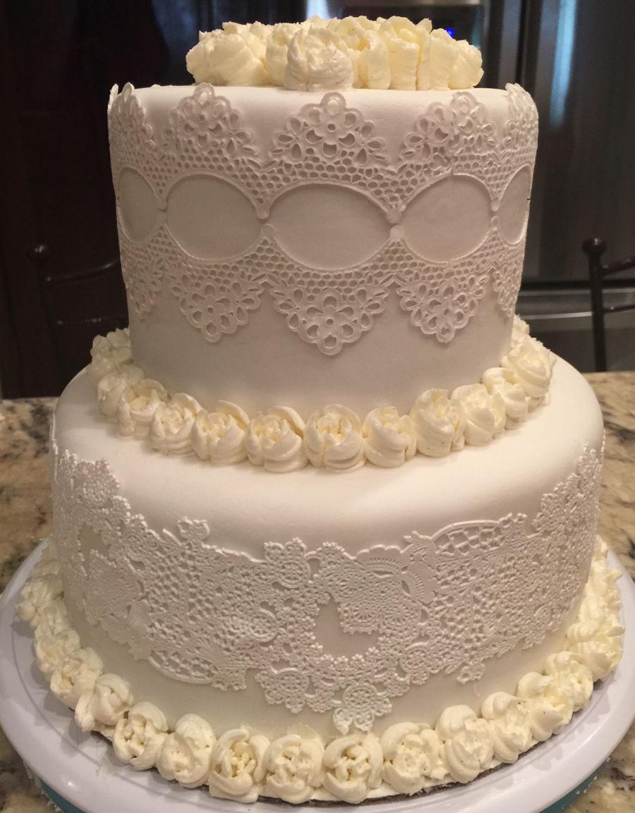 Edible Lace For Wedding Cakes  White White Edible Lace Wedding Cake CakeCentral