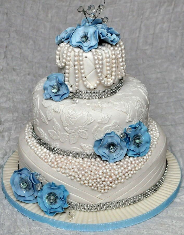 Edible Pearls For Wedding Cakes  3 tier wedding cake with edible pearls and lace Decorated