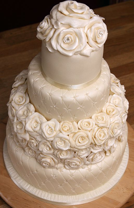 Edible Pearls For Wedding Cakes  Quilted Wedding Cake with handmade fondant roses edible