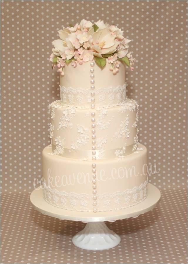 Edible Pearls For Wedding Cakes  Vintage Garden Wedding Cake with edible pearls and