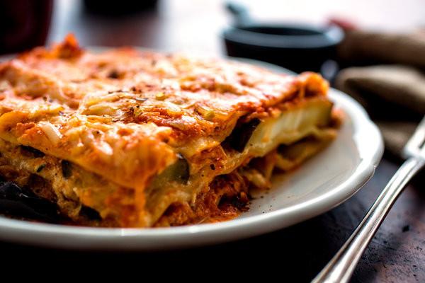 Eggplant Lasagna Healthy  Lasagna With Tomato Sauce and Roasted Eggplant Recipe