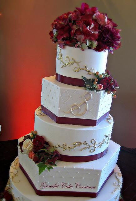 Elegant Buttercream Wedding Cakes  Elegant Ivory Buttercream Wedding Cake with Burgundy and