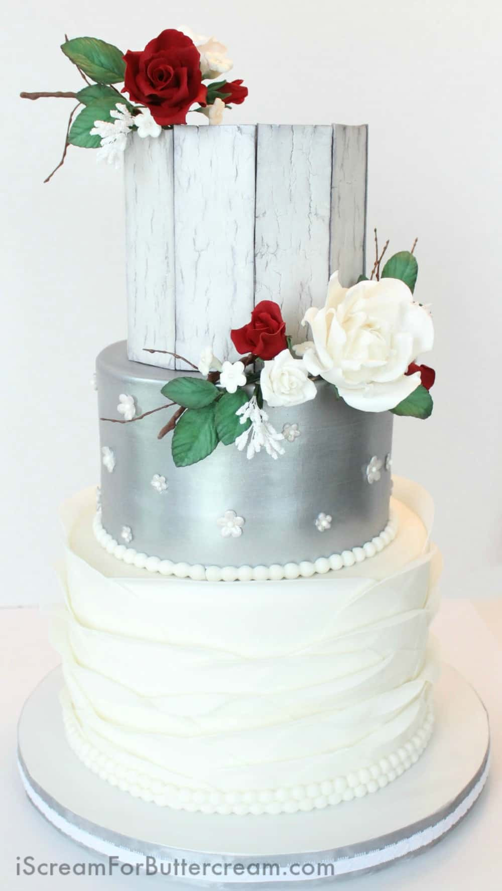 Elegant Buttercream Wedding Cakes  Elegant Rustic Silver Wedding Cake I Scream for Buttercream