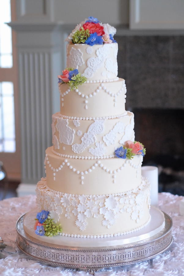 Elegant Buttercream Wedding Cakes  Elegant Fondant Lace and Buttercream Wedding Cake cake