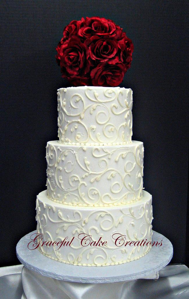 Elegant Buttercream Wedding Cakes  Elegant White Buttercream Wedding Cake Grace Tari
