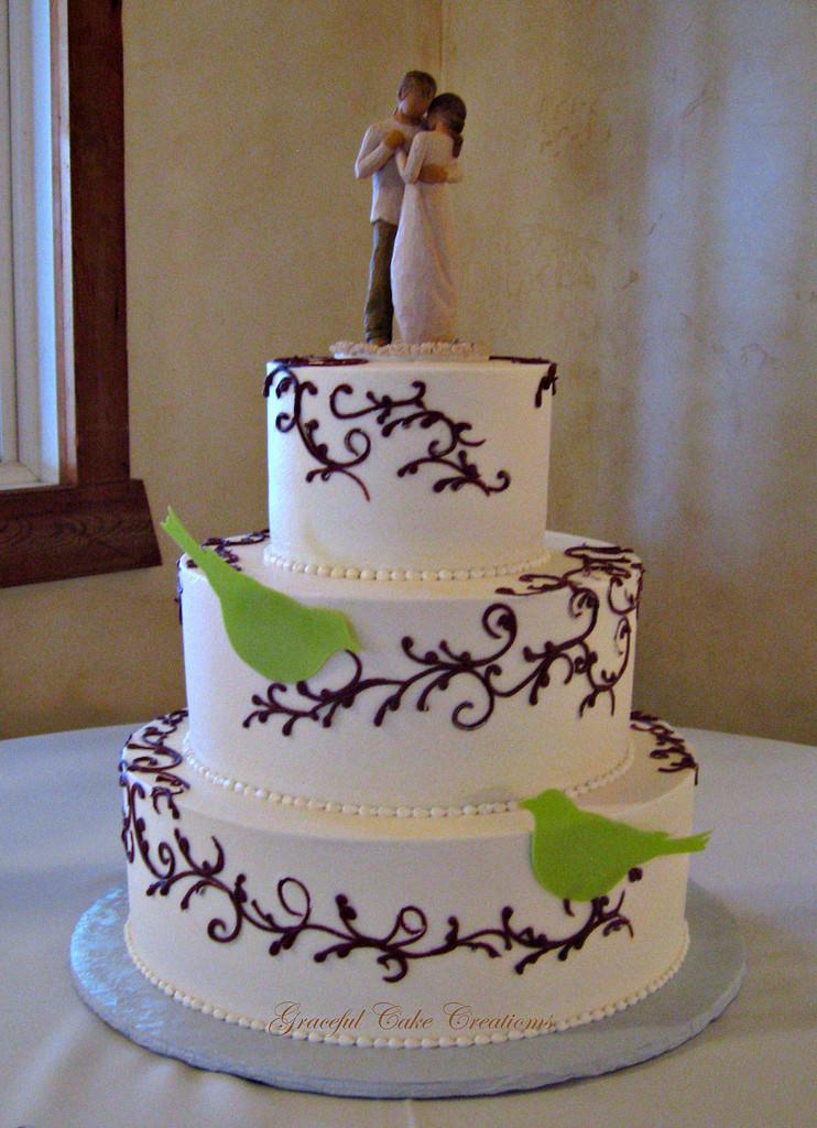 Elegant Buttercream Wedding Cakes  Simple and Elegant Ivory Buttercream Wedding Cake with Bro