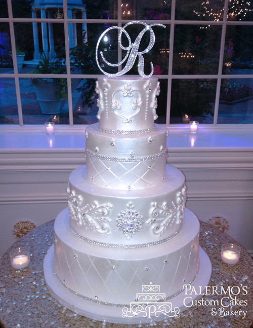 Elegant Wedding Cakes With Bling  Elegant Jewelry Bling Cake • Palermo s Custom Cakes & Bakery