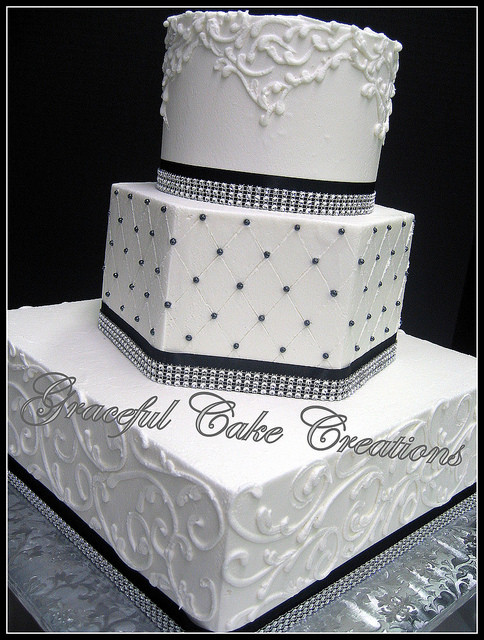 Elegant Wedding Cakes With Bling  Elegant White Wedding Cake with Black Ribbon and Bling