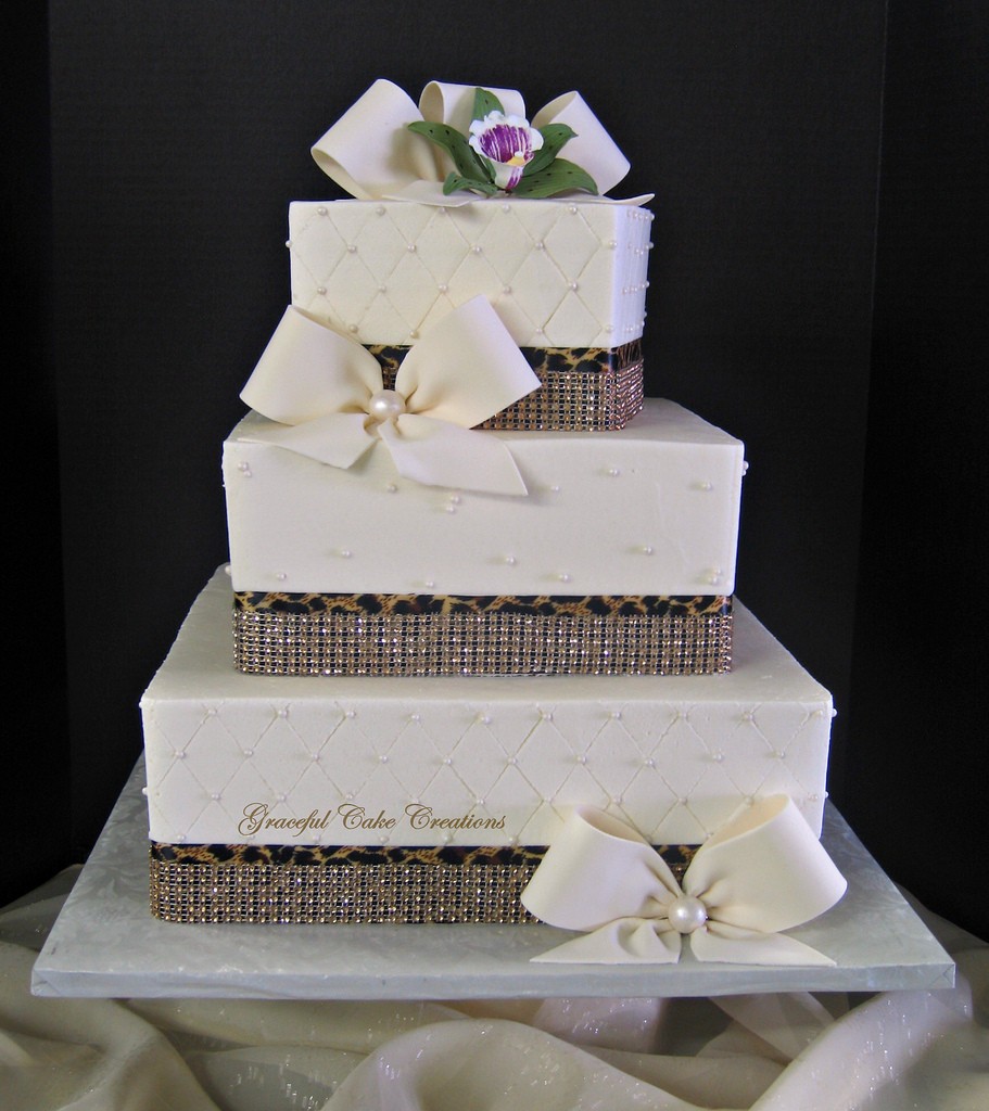 Elegant Wedding Cakes With Bling  Elegant Ivory Buttercream Wedding Cake with Bling Ribbon