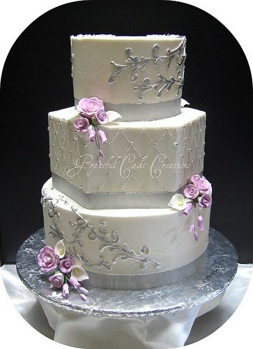 Elegant White Wedding Cakes  CakeChannel World of Cakes Elegant Silver and White
