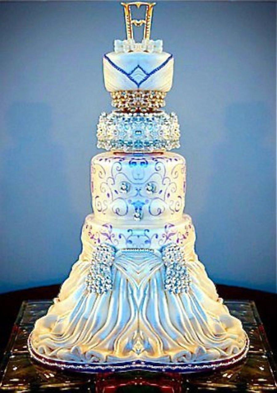 Elegant White Wedding Cakes  Elegant Blue And White Wedding Cake CakeCentral