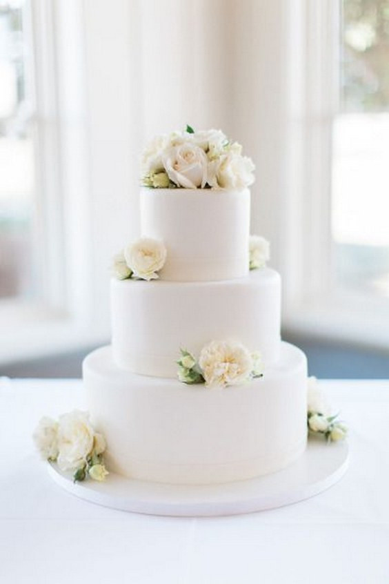 Elegant White Wedding Cakes  60 Simple & Elegant All White Wedding Color Ideas