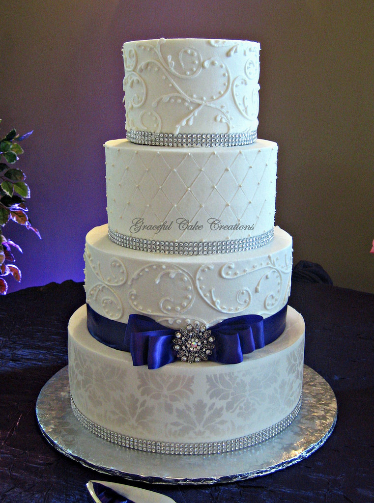 Elegant White Wedding Cakes  Elegant White Damask Wedding Cake a photo on Flickriver