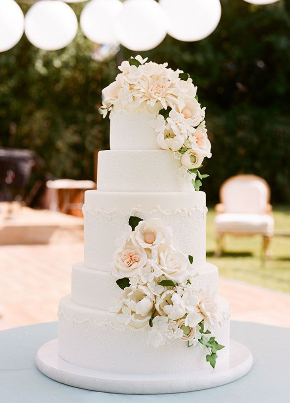 Elegant White Wedding Cakes  Elegant 5 tier wedding cake decorated with sugar flowers