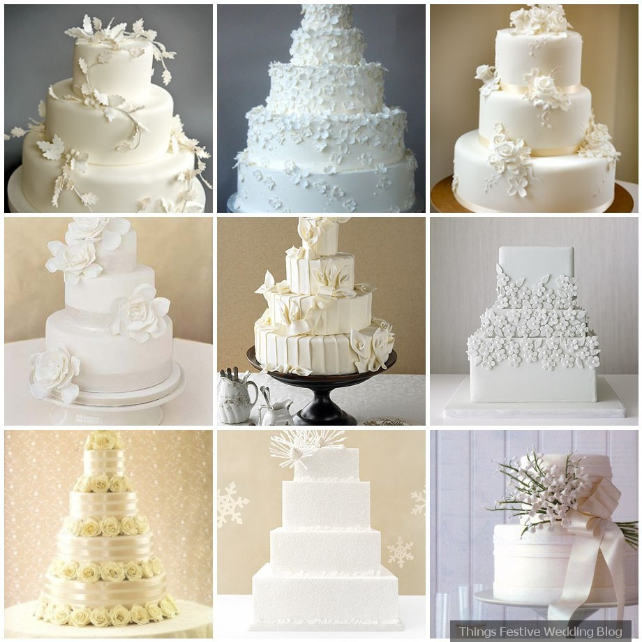 Elegant White Wedding Cakes  All White Wedding Cakes Simple Elegance