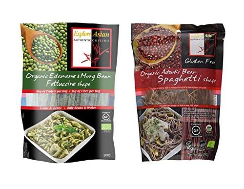 Explore Asian Organic Edamame Spaghetti  Explore Asian Organic Pasta 2 Flavor Variety Bundle 1