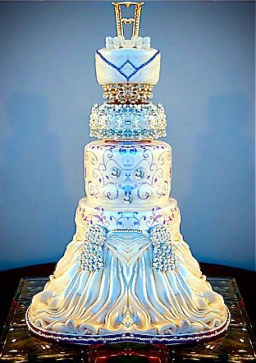 Extreme Wedding Cakes  Elegant Blue And White Wedding Cake CakeCentral