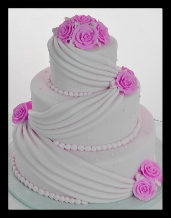 Fake Wedding Cakes For Display  Three Tier Fondant Faux Wedding Cake Faux by