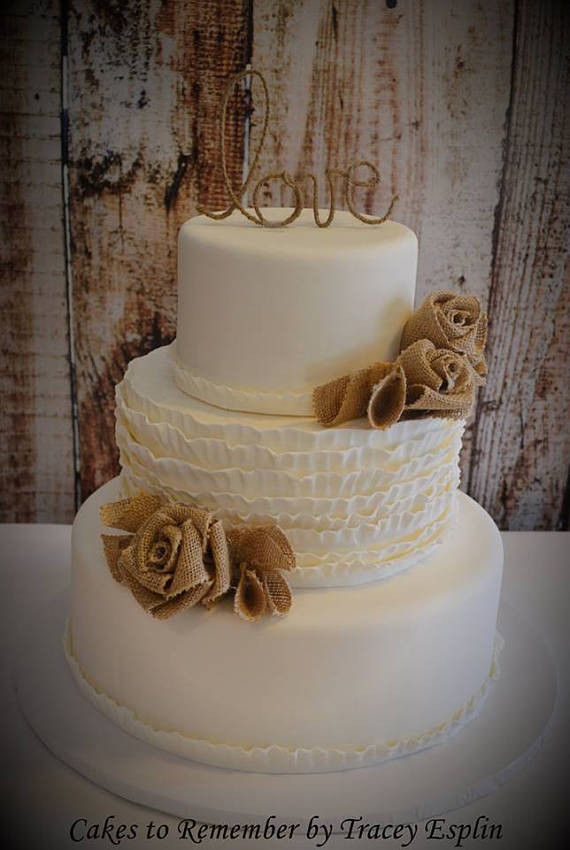 Fake Wedding Cakes For Display  Burlap Wedding Cake 3 tier faux cake fake wedding cake