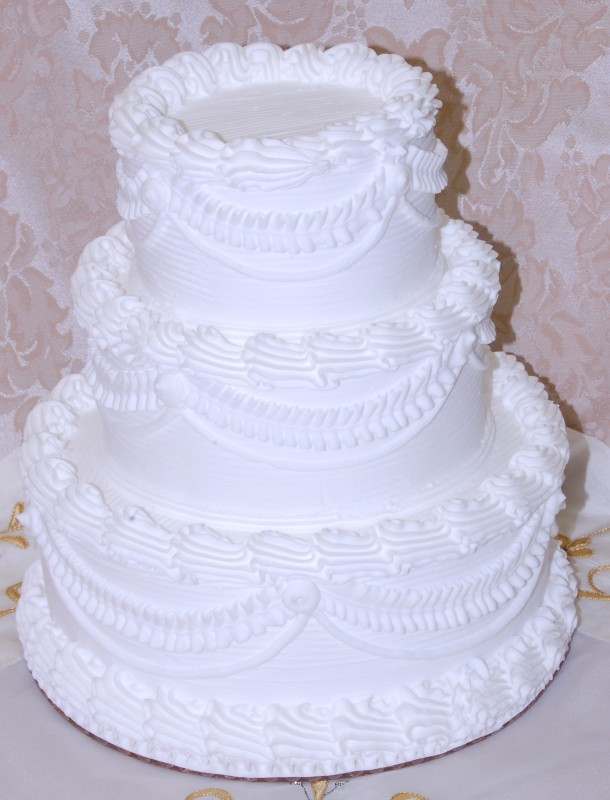 Fake Wedding Cakes For Display  White Three tier Stacked Wedding Fake Cake 9 Inch