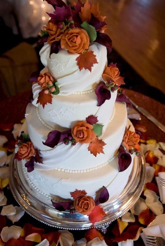 Fall Themed Wedding Cakes  Fall Wedding Ideas And Invitations Purple And Orange Wedding