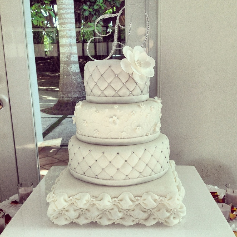 Fancy Wedding Cakes  Elegant Square And Round Wedding Cake CakeCentral