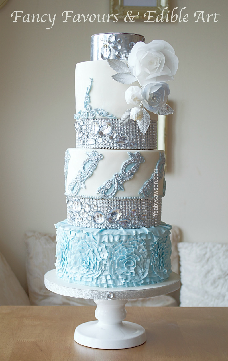 Fancy Wedding Cakes  Blue & diamond wedding cake in Birmingham & diamante tier