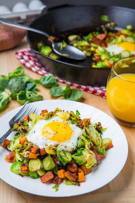 Fast Food Healthy Breakfast  Brussels Sprout Hash With Bacon Egg – Best Calorie Diet
