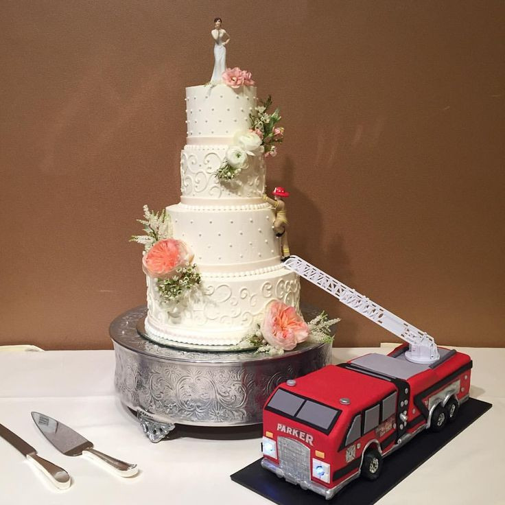 Fire Truck Wedding Cakes  Best 25 Firefighter grooms cake ideas on Pinterest
