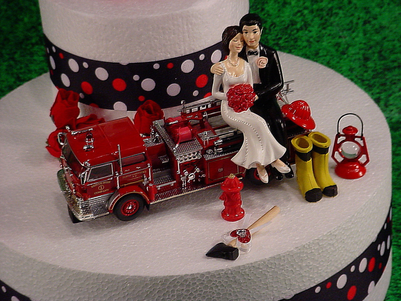 Fire Truck Wedding Cakes  NO Fire Bride and Groom Firefighter Wedding Cake Topper Custom