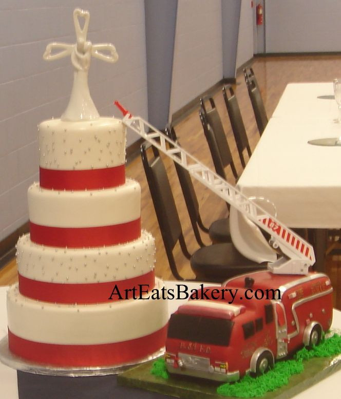 Fire Truck Wedding Cakes  4 Tier white fondant wedding cake with silver pearls red