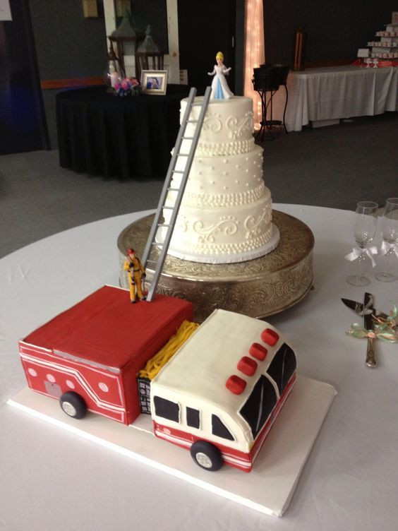 Fire Truck Wedding Cakes  Firefighter Wedding Cake & Fire Truck Grooms Cake