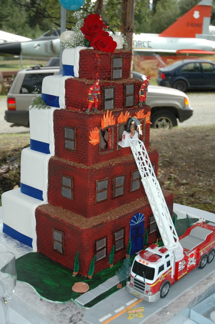 Fire Truck Wedding Cakes  34 best fire fighter wedding images on Pinterest