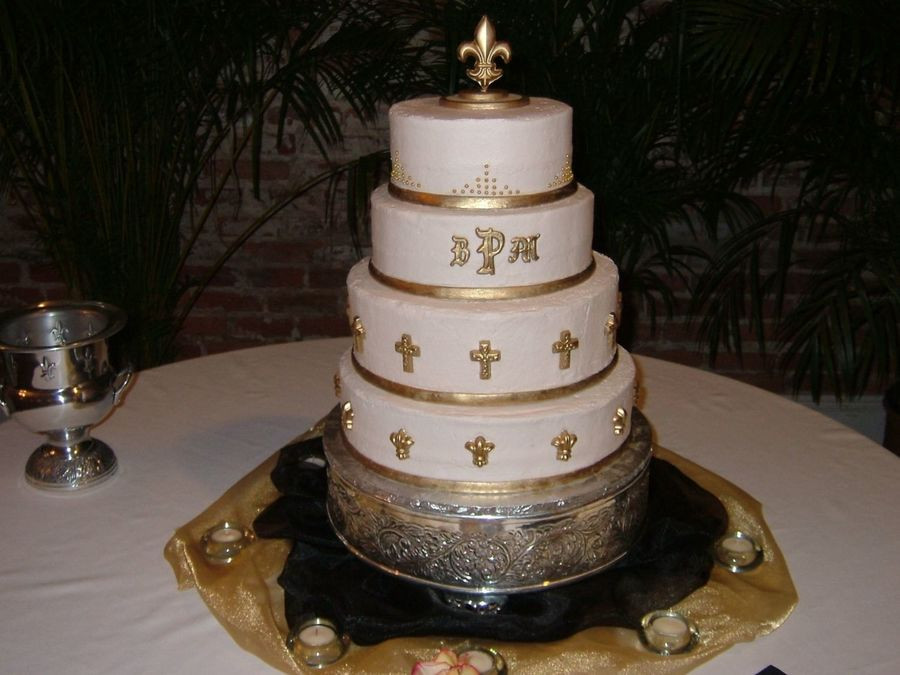 Fleur De Lis Wedding Cakes  Gold Fleur De Lis And Crosses Wedding Cake CakeCentral