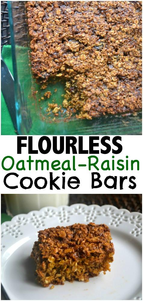 Flourless Oatmeal Cookies Healthy  Flourless Oatmeal Raisin Cookie Bars