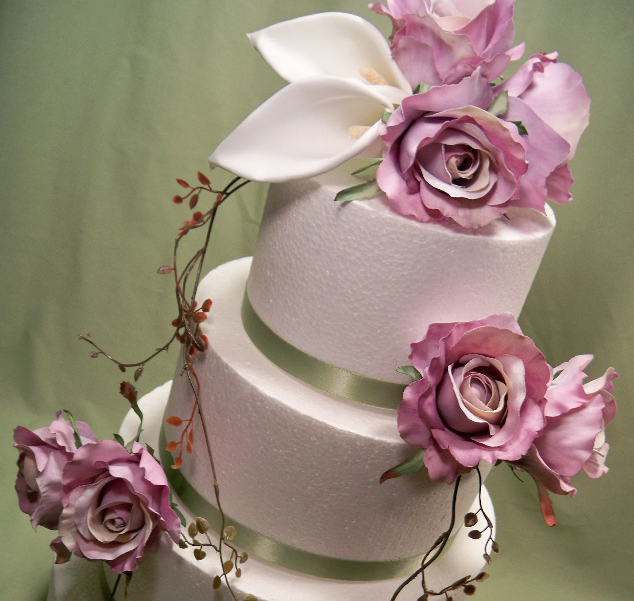 Flowers For Wedding Cakes Artificial  Lavender Rose and White Calla Lily Silk Flower Wedding