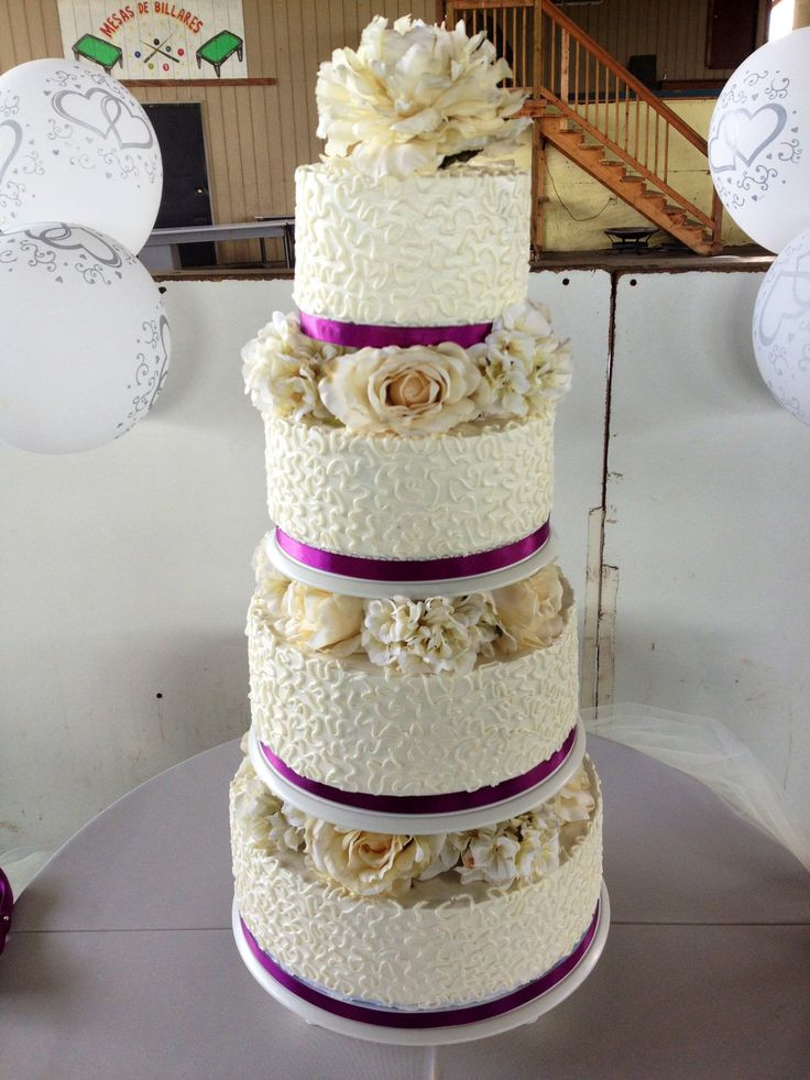 Flowers For Wedding Cakes Artificial  Cornelli lace wedding cake creamed colored silk flowers