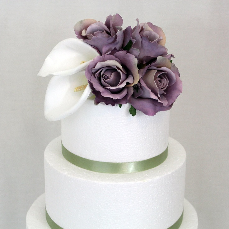 Flowers For Wedding Cakes Artificial  Wedding Cake Topper Calla Lily Ivory Lavender Rose