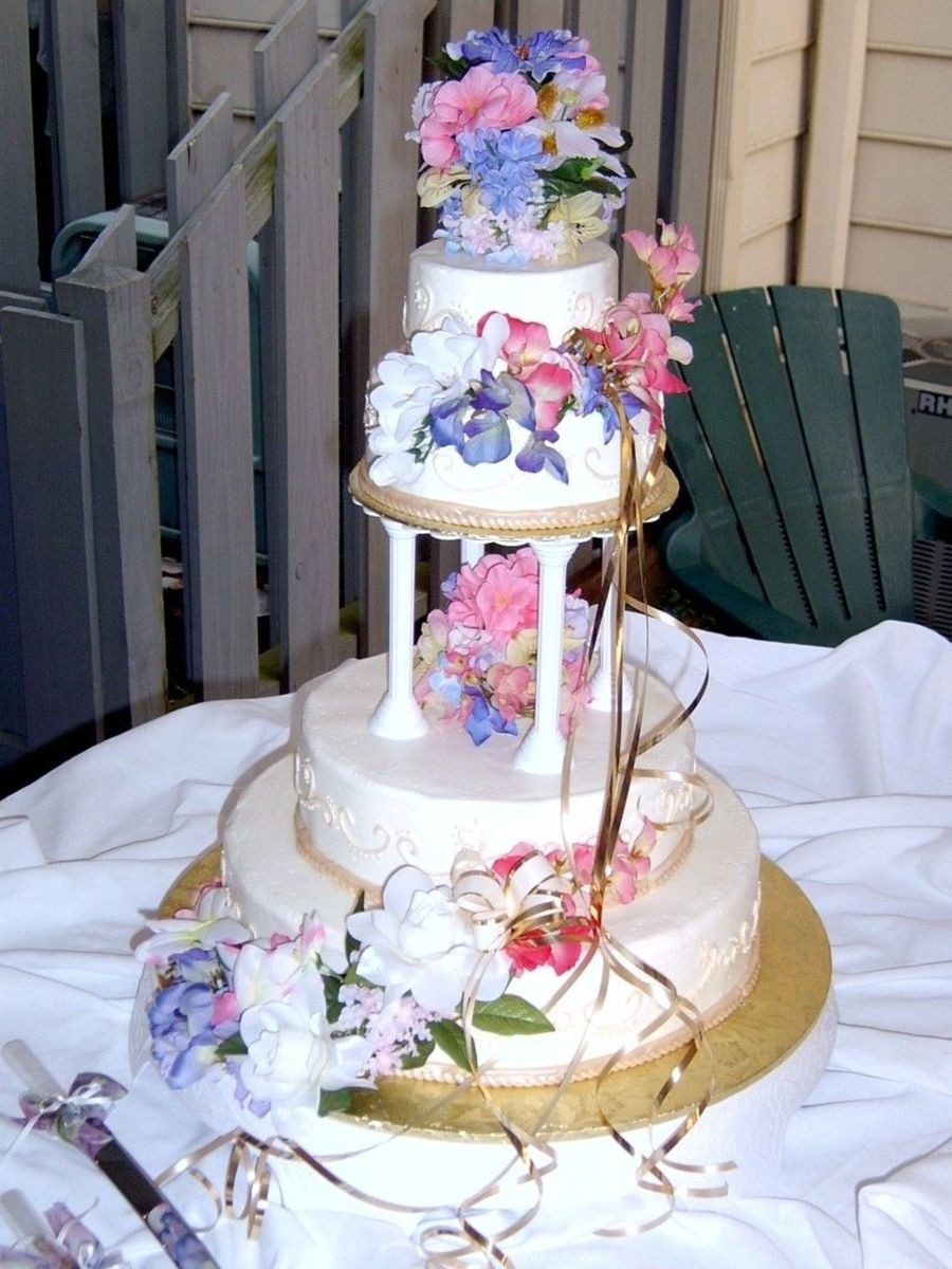 Flowers For Wedding Cakes Artificial  Tiered Wedding Cake With Fondant Trim And Silk Flowers