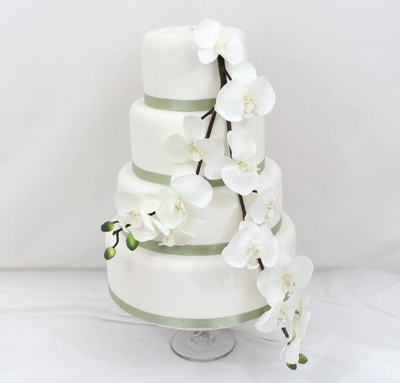 Flowers For Wedding Cakes Artificial  Wedding Cake Topper White Orchid Silk Flower by ItTopsTheCake