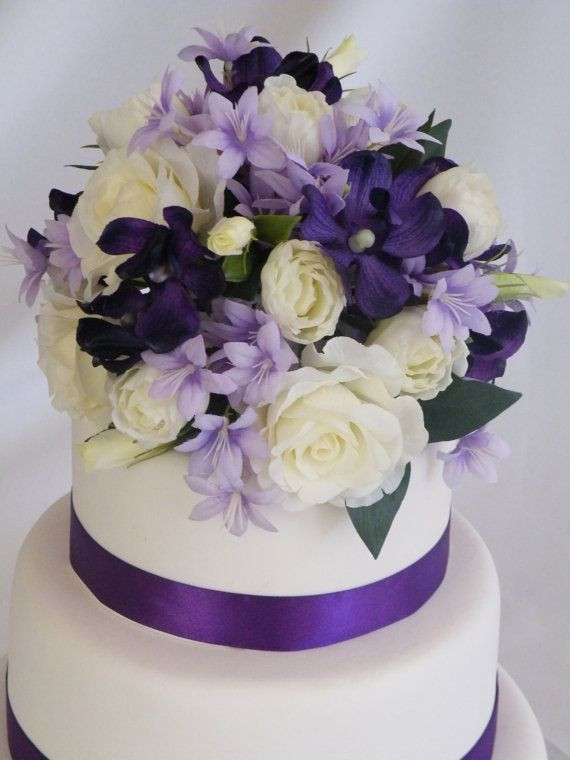 Flowers For Wedding Cakes Artificial  Wedding Cake Topper Purple Decoration Silk Flowers This
